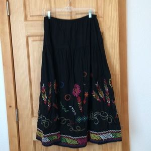 Chico's Embroidered Maxi Skirt